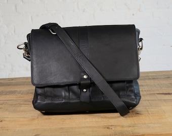SECONDS - Attache Leather Laptop Messenger Bag - Galloper Black
