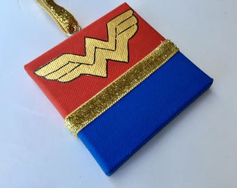 Hand Painted and Personalized Wonder Woman ornament