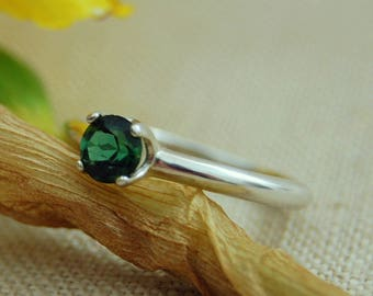 Ivy -  Alternative Engagement Ring, indicolite tourmaline, green tourmaline, promise ring, October birthstone, diamond alternative, ring