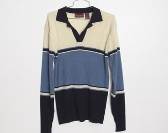 Men's Fitted Sweater / Blue & Cream Striped Ribbed Knit / Vintage Year Rounder 70s - 80s Collared Pullover