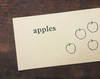 Vintage Vocabulary Flashcard, Apples Flashcard, Primer Flash Card, Whitman Pre-Primer Word Card