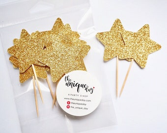 Gold Glitter Star Toppers, Set of 12, star cupcake toppers, gold birthday decorations, birthday cupcake toppers , first birthday decor
