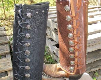 Custom Made Bison Leather, Buffalo Hide, leather Leggings, Genuine American Bison Leggings, SASS Leggings,Botas, Motorcycle Leggings.