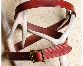 "Beveled mahogany leather belt - 42"" (fits 40""-44"")"