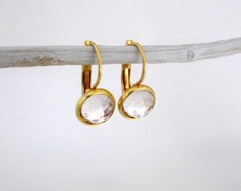 Swarovski Crystal Earrings, Crystal Earrings, Swarovski Earrings, Swarovski Gold Earrings, Crystal Gold Earrings, Gold Crystal Earrings