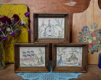 Set of 3 Vintage Matching Wooden Framed French Ship Bike Bicycle Prints Wood Frame Countryside Family