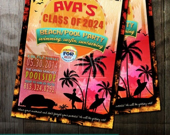 Retro Beach Party Invitation, Luau Birthday Invitation, Summer Beach Party Invitation, DIY Printable Beach Party Invitation