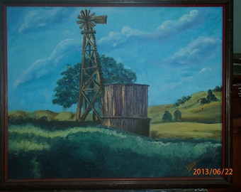 "Days Gone By - An original 16 x 20"" oil painting of a water tower and windmill from the olden days in a stained wooden frame"