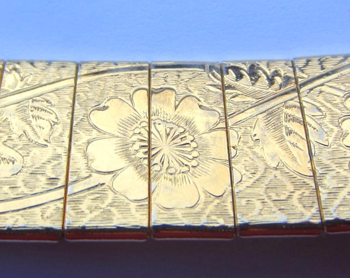 Coventry signed Asian Revival gold tone flower panel bracelet ~lovely, vintage costume jewelry