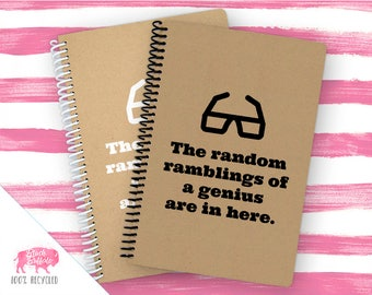 Spiral Notebook | Spiral Journal Planner | Journal | 100% Recycled | Ramblings of a Genius | BB024