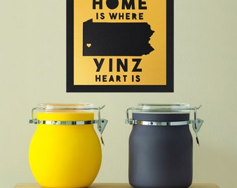 FRAMED Home Is Where Yinz Heart Is Original Papercut, Pittsburgh Art, Pittsburgh Decor, Pittsburgher, Yinzer, Pittsburgh Gift