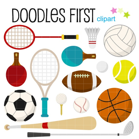 sports gears and equipments digital clip art for scrapbooking rh etsy com