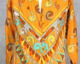 1950s  Designer Blouse Oleg Cassini Vintage Blouse Turquoise Orange Yellow