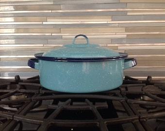 Blue Enamel Pot with Lid Speckled Cornflower and Cobalt