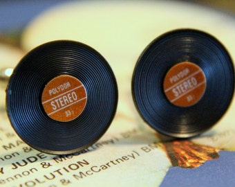 Vinyl Record Cuff Links Brown