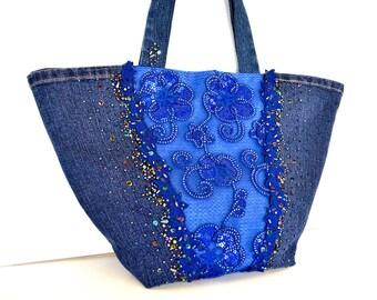 Upcycled denim jeans sequinned handbag,