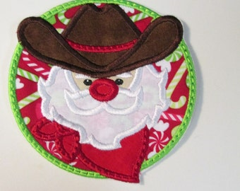Country Santa  - Christmas Iron on Or Sew On Applique
