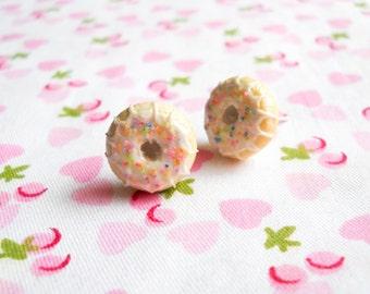 Donut Post Earrings, Doughnut Post Earrings, Donut Studs, Doughnut Studs, Sprinkle, Doughnut, Donut, Food Earrings, Dessert, Lolita, Kawaii