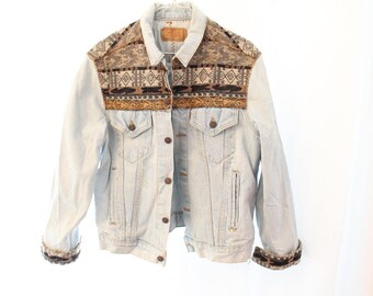 Vintage 90s Southwestern Patchwork Levi's Denim Jacket - Women's L