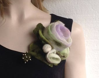 Hand felted  flower brooch in light lavender color with forest green and olive green leaves  with  bronze  color metal leaves and beads
