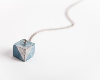 Concrete Jewelry, Concrete Cube  Necklace (Indigo w/Silver Accent), Cement Jewelry, Modern, Geometric, Women's Gift Under 30