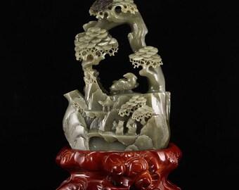 N5097 Vintage Chinese Hetian Jade Teapot - Bird & Pine Tree w Certificate