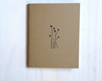 Notebook: Flowers, Woodland, Nature, For Her, For Him, Kids, Unique, Gift, Jotter, Journal, Small Notebook, New Years, Kraft, Brown, Favor
