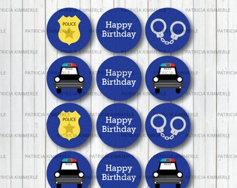 Printable Cupcake Toppers, Policeman, Police Car, Police Badge, Hero, Police Department,  Police Party, Decorations, DIY,  INSTANT DOWNLOAD