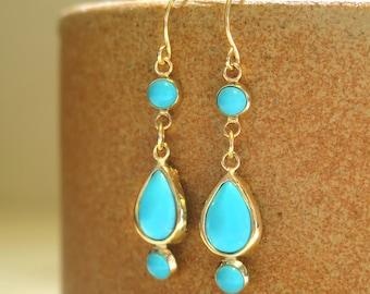 Dangle Turquoise Earrings, Solid Gold Earrings, Gold Dangle Earrings, 14k Turquoise Earrings, Long Turquoise Earrings, Gift for Her