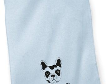 French Bulldog printed tea towel