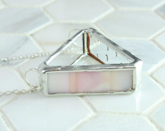 Pink Glass Necklace, Triangle Shaped Geometric Pendant, Art Glass Pendant, Sister Gift Idea, Stain Glass Jewelry, Statement Pendant Necklace
