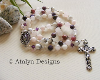 Lepidolite and Rose Quartz Handmade Rosary - Purple Miraculous - Pink White Catholic Rosary - Made in the UK