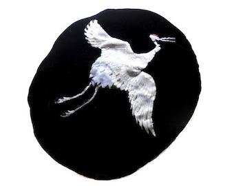 Black Velvet Beret Hat Crane White Crane Bird Elegant Beret Warm for Winter Tam Art Gallery Opening Birding Society Fun Unique Black Corona