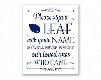 Navy Blue Printable Sign a Leaf Wedding Sign, Guest Book Alternative, #LF12N