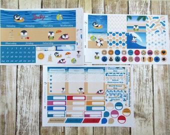 July Monthly Sticker Set, ERIN CONDREN, Summer monthly, beach penguins