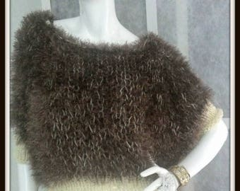 SWEATER WOMAN KNITTED  Shoulder Warmer Short Furry Poncho With Sleeves