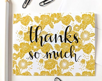 Thanks So Much - Gold Floral Card, Thank You Card, Calligraphy Card