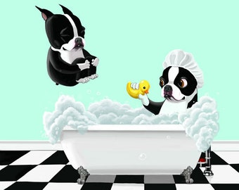 Boston Bath Time, Boston Terrier gifts, Boston Terrier lovers, boston terrier art print, wall decor