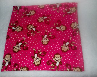 Lower Back Flaxseed Heating Pad, Cold Pack, Flax Seed Heating Pad, Natural Heating Pad, Giggling Monkeys, Hot Pink Monkeys, Smiling Monkeys