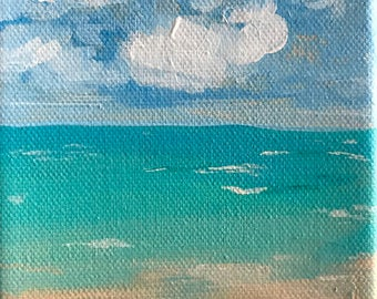 Cottontail Clouds | acrylic seascape with teal water and fluffy clouds