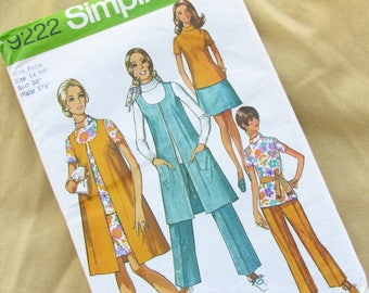 Uncut 1971 Size 36 Inch Skirt or Trouser Suit Multi Garment Outfit - Vintage Simplicity Sewing Pattern No 9222