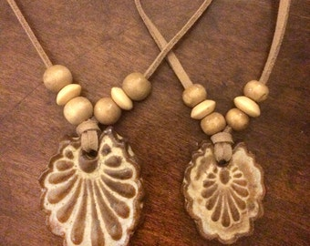 Mother/daughter or sisters handmade stoneware shell necklaces. J-43