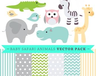 Premium baby shower vector clipart - Baby Safari animals - baby shower - clip art and digital paper set - baby safari clipart