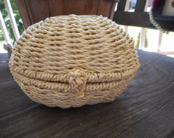 Vintage hand woven egg basket. Lustre Shades by The Wallace Oaks Collection of  Ojai, CA