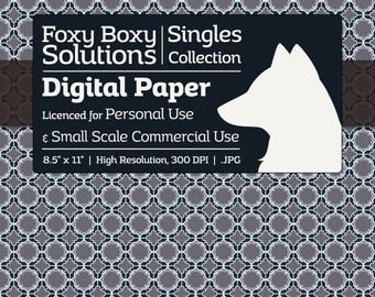 Moroccan Pattern Digital Paper - Single Sheet in Desaturated Violet, Dark Blue, & White - Printable Scrapbooking Paper