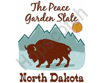 Peace Garden State - Machine Embroidery Design, North Dakota