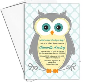 Gender Neutral Baby Shower Invites with Owls, Yellow, Gray and Aqua, Invitations Printable or Printed - WLP00784