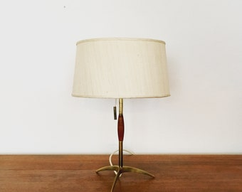 Beautiful mid-century modern brass and Teakwood table lamp by J.T. Kalmar | 1950 's |