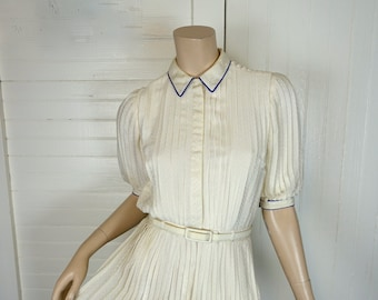 Pleated Ivory Dress- Vintage 1980s / 80s- Puffy Sleeves- Marion Maged- Casual / Short Wedding Dress / Secretary- Extra Small- Fine Pleats