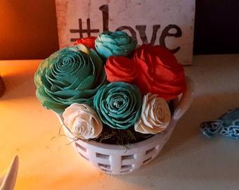 Sola Wood Flower arrangement - Mint, Coral, White